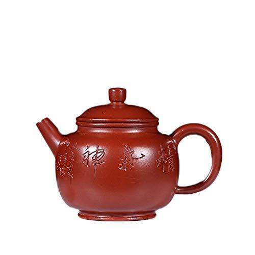 GUOCAO Tetera de cerámica con multímetro electrónico Yixing Zisha Pot hecha a mano con semillas de loto antiguas tetera para preparar té (color: gran bolsa roja)