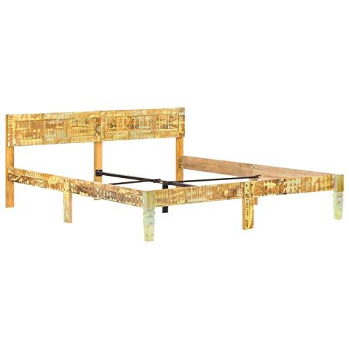 pedkit Estructura de Cama Marco de Cama Cama de Matrimonio de Madera Maciza Reciclada 140x200 cm