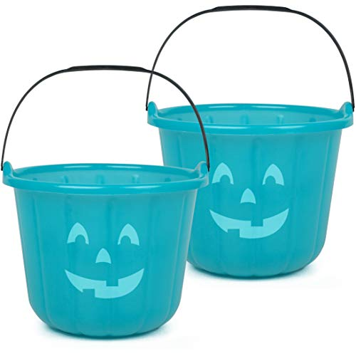 SCS Direct Teal Pumpkin Halloween Trick or Treat Bucket 8.5 in (2 Pack) - Official Teal Pumpkin Project Allergy-Friendly Candy Accessory and Party Decoration