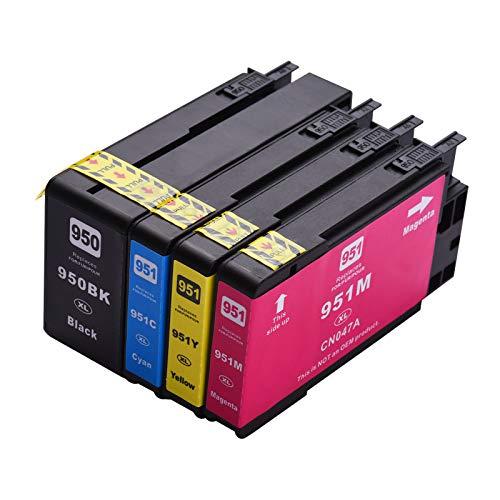 Aibecy Cartucho de tinta compatible de repuesto para 950XL 951XL de alto rendimiento Compatible con HP Officejet Pro 8100 8600 8610 8620 8630 8640 8660 8615 8625 251DW 276DW Impresora, paquete de 4