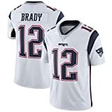 LAVATA T-Shirt Manches Courtes Homme Uniforme De Football New England Patriots 12# Tom Brady Maillots Uniformes De Rugby T-Shirts