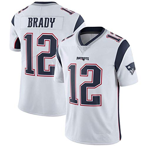LAVATA Herren Kurzarm T-Shirt Fußballuniform New England Patriots 12# Tom Brady Rugby Uniform Trikots T-Shirts