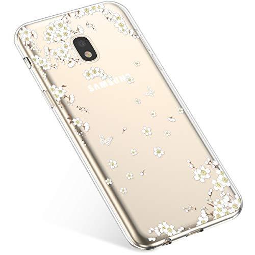 Uposao Compatibile con Samsung Galaxy J7 2017 J730 Custodia Silicone Morbido Ultra Sottile Slim TPU Flessibile Case Gomma Cassa Antiurto Bumper Protettiva per Samsung Galaxy J7 2017 J730,Fiore Bianco