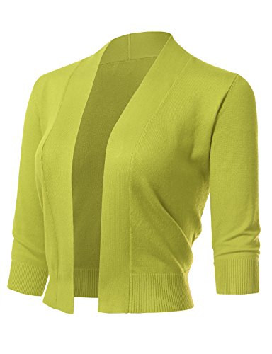 Women's Classic 3/4 Sleeve Open Front Cropped Cardigans (S-3XL) L Lime