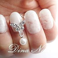 DINAネイル ジェルネイルホワイトマーブル蝶 フラットショートM(25468番) ネイルチップ