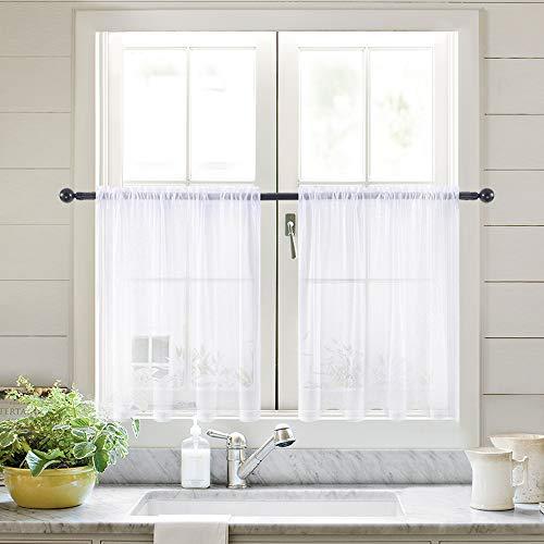 MIULEE 2er Set Küchenvorhang Transparente Stangedurchzug Spitzenvorhang Freihanddeko aus transparentem Voile Deko Einfarbige Gardinen Dekoschals Vorhang für Küche 45x75cm(H x B)