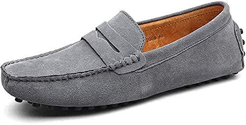 DUORO Herren Klassische Weiche Mokassin Echtes Leder Schuhe Loafers Wohnungen Fahren Halbschuhe (43 EU, Grau)
