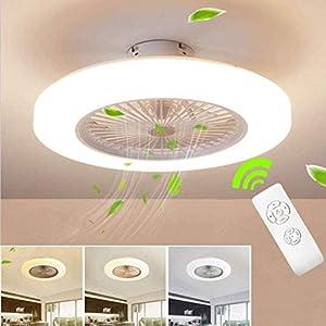 XIN'S Ventilatori da Soffitto con Lampada LED Fan Plafoniera 72W Ventilatore Invisibile Creativo 3 velocità con Telecomando Dimmerabile Decorazione D'interni Illuminazione,Bianca