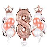 Globos de 8 cumpleaños de SNOWZAN para decoración de cumpleaños de niña, 8 años, para fiesta de cumpleaños