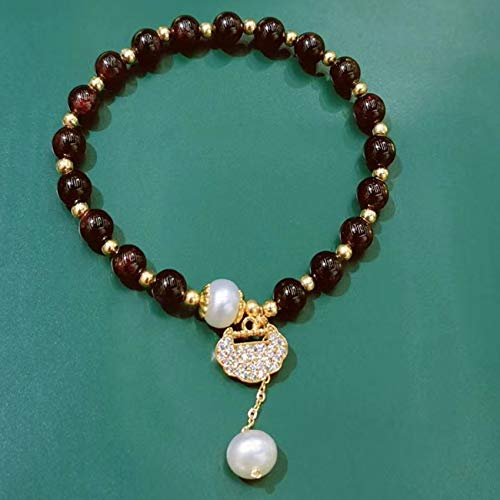 DFGHJH Natural Pearl Garnet Feng Shui Wealth Long Life Lock Bracelet Women's Adjustable Reiki Healing Chakra Meditation for Good Fortune Courageous Wealth Lucky Safe