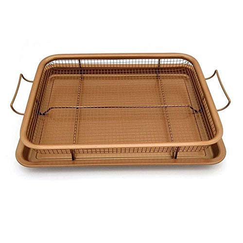 ZTBXQ Portable Outdoor Barbecue Smoker Accessories Copper Crispy Tray Oven Air Fryer, Durable Mesh Basket with Reinforced Ceramic Coating Tray, Cook with No