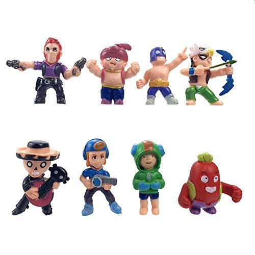 VENDISART Modelo De Personaje De Animebrawl Stars Juego Cartoon Hero Anime Figura Modelo Spike Shelly Leon Primo Pocs Dolls Boy Girl Toys Kid Birthday Gift 8Pcs / Set