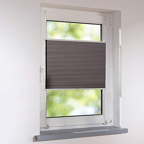 Plissee 85 x 140 cm DUETTE silber-grau/braun Verdunkelung Wabenplissee verspannt Klemmfix ohne Bohren Faltrollo Raffrollo für Fenster und Türen