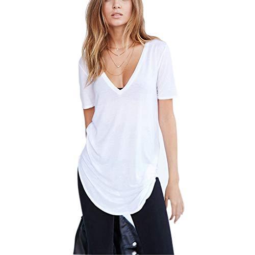 maxi maglia Germinate Lunghe Profondo Scollo a V T Shirts Donna Estate Bianco Nero Sexy Cotone Tuniche Magliette Maglie Oversize Taglie Forti (Bianco