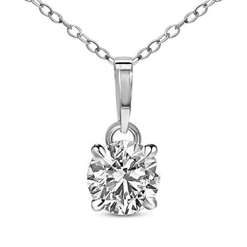 Natuurlijke Diamant Solitaire Hanger IGI Gecertificeerd 3/8 ct Diamant Hanger Voor Vrouwen 14K Wit Goud Solitaire Diamanten Ketting Hanger GH- I3 met 14K Goud Ketting inbegrepen