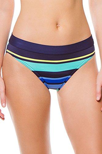 JAG Women's Caribbean Sunset Stripe Bikini Bottom, Navy, L