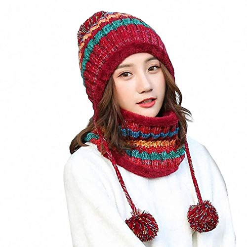 Aisaving Sombrero y Bufanda Mujer Invierno Conjunto de Bufanda de Punto Girls Beanie Hat Caliente Gorras con Scarf de Lana de Punto de Esquiar para Chicas(Rojo)