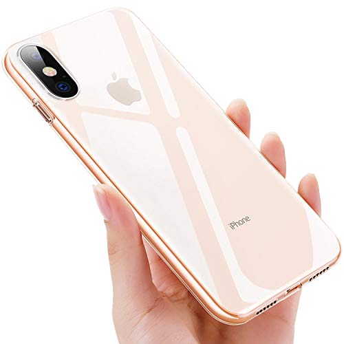 mopalwin Funda iPhone XS, Funda Protectora iPhone X Anti-Choques Anti-Arañazos y Resistente Huellas Dactilares Ultra-Delgado Silicona Suave TPU Carcasa Transparente para iPhone XS (5.8')
