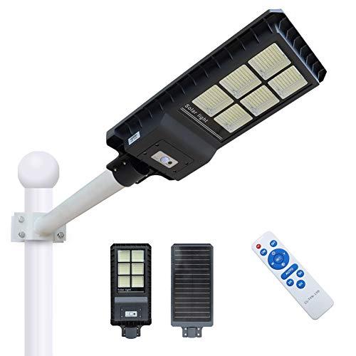 300W Solar Street Light Dusk to Dawn,Parking Lot Lights 20000mAH Iron Phosphate Battery LED Outdoor Lighting,24000Lm Light/PIR Motion Sensor for Garage,Patio,Garden,Driveway