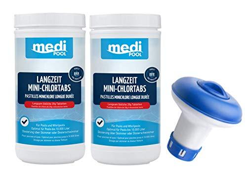 Medipool Langzeit MiniChlorTabs 20g, 2 x 1KG, Chlor Langzeittabletten und Dosierschwimmer für 20gr. Tabletten