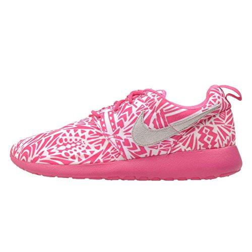 Nike Roshe One Print (GS) Laufschuhe white-metallic silver-vivid pink-pink pow - 38,5
