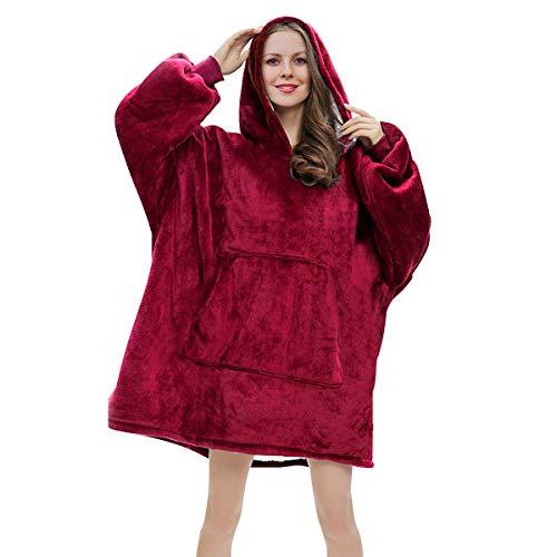 RainRose Pullover Damen, Hoodie Damen Oversize Sweatshirt Decke, Geschenke für Frauen Decke mit ärmel, Weicher Warmer Kapuzen Deckenpullover Einheitsgröße für Damen, Herren