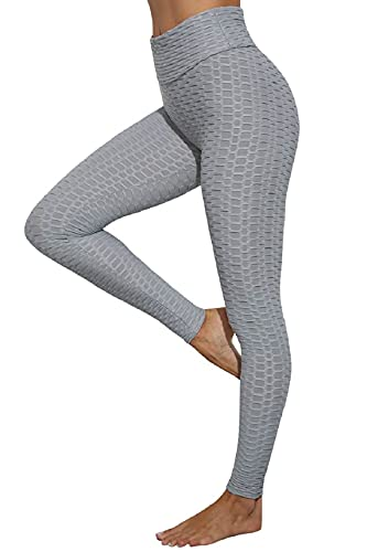 CMTOP Leggings Push Up Mujer Mallas Panal Arrugado Pantalones Deportivos Alta Cintura Elásticos Yoga Leggings Mujer Fitness Suaves Elásticos Cintura Alta (Gris, M)