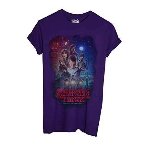MUSH T-Shirt Stranger Things Characters - Film by Dress Your Style - Bambino-L-Viola