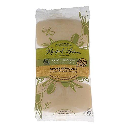 3 Savons Traditionnels Sauge Bergamote Certifiés Bio Rampal Latour de 150 g