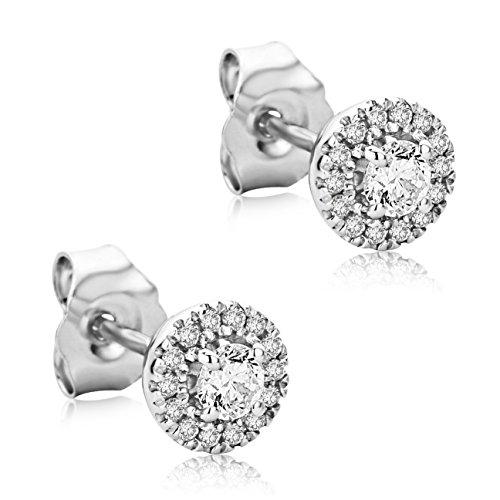 Orovi Ohrringe Damen 0.26ct Ohrstecker Weißgold 9 Karat / 375 Gold Zentraler Stein 0.19ct Übrige Diamanten Brillanten 0.07ct