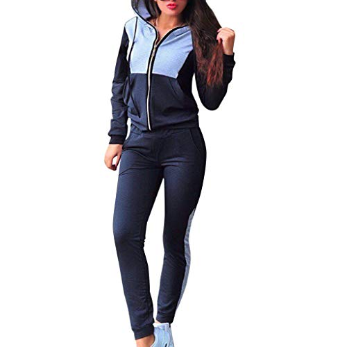 DAY8 Tute Donna Sportive Invernali Completo Tuta Sportiva da Donna in Righe a Manica Lunga con Cappuccio Taglie Forti Felpa E Pantaloni Casual Fitness Jogging