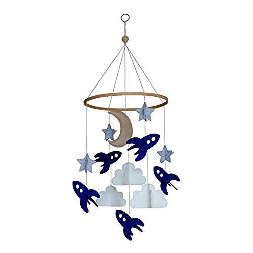 Terynbat Campana colgante para cama de bebé, colgante de fieltro-nave espacial, estrellas, nubes y decoración de cuidado de la luna