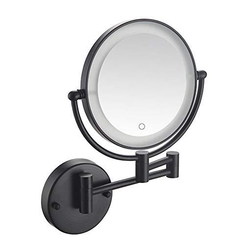 LXXTI led-spiegel met 5-voudige vergroting aan de muur, verlichte make-upspiegel, dubbelzijdig, 360 graden draaibaar, eenvoudig te installeren, zwart