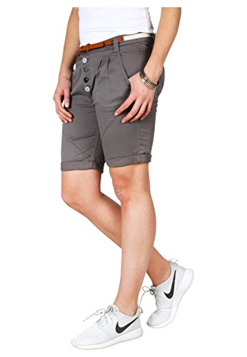 Sublevel Damen Chino Bermuda Shorts mit Knopfleiste Dark-Grey M