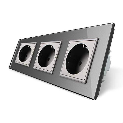 LIVOLO Grau 3 Fach Schuko Steckdose Schutzkontakt mit Kindersicherung Panel aus Kristallglas EU Standard Wandsteckdose,VL-C7C3EU-15-A