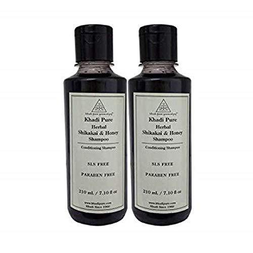 Khadi Pure Herbal Shikakai & Honey Shampoo SLS Paraben Free - 210 ml (Set Of 2) by KHADI