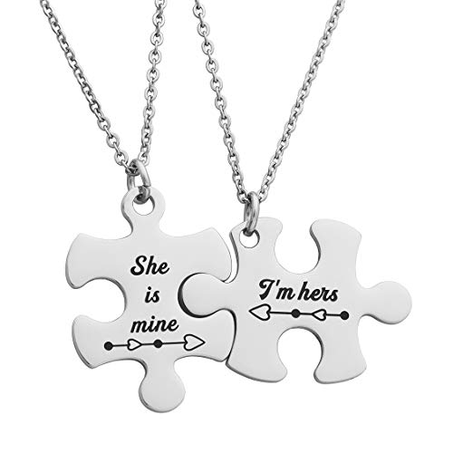 JINGMARUO Lesbian Couples Gifts I'm Hers She is Mine Puzzle Pendant Necklace Lesbian Girlfriend Gift LGBT Jewelry (Puzzle Necklace-I'm Hers She's Mine)