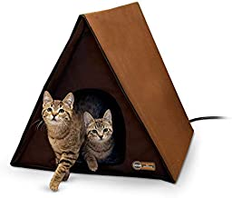 K&H PET PRODUCTS Outdoor Multi-Kitty A-Frame Chocolate 35 X 20.5 X 20 Inches Heated