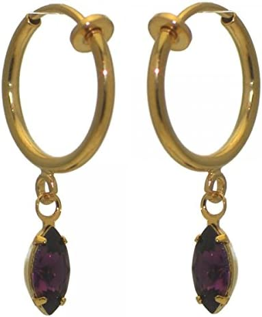 CLEMENTINE CERCEAU Gold Plated lilac Clip On Earrings