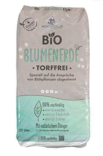 Hochwald Bio Blumenerde torffrei mit Dünger | Universalerde für Zimmerpflanzen, Balkonpflanzen und Kübelpflanzen | Bioerde mit Bodenhilfsstoffen | mit natürlichem Langzeitdünger | 20 Liter