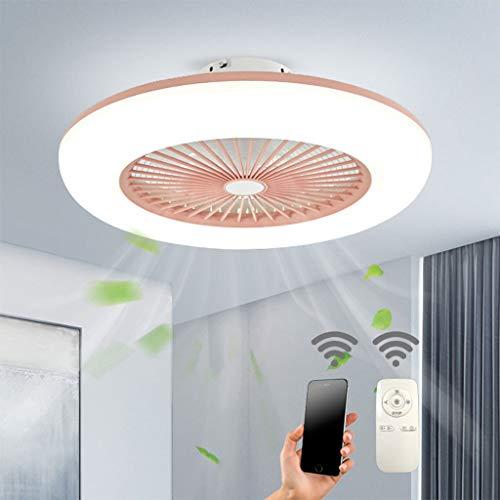 Deckenventilator Mit Beleuchtung LED-Licht Einstellbare Windgeschwindigkeit Dimmbar Mit Fernbedienung 32W Moderne LED-Deckenleuchte Für Schlafzimmer Wohnzimmer Esszimmer,Rosa