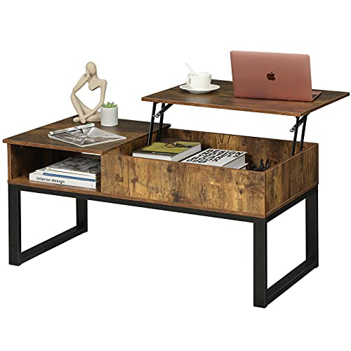 Ittar Lift Top Coffee Table with Hidden Storage Compartment, Modern Coffee Table with Side Shelf &...