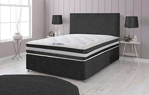 Sleep Factory Ltd Crushed Velvet Divan Bed with Memory Foam Sprung Mattress and Headboard – 6ft Super Kingsize, Black