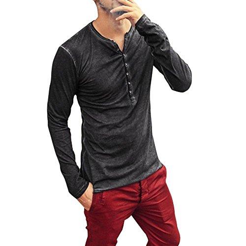 Camisetas Slim Hombre Otoño,Blusas Hombre,Camiseta de Manga Larga con Cuello en V...