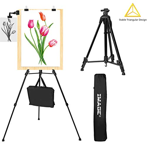 Easel Stand IMAGE Aluminum Metal Tripod Field Easel Adjustable Height 21 to 66 Inches Lightweight and Durable Artist Easel with Portable Bag for Floor/Table-Top Drawing and Displaying