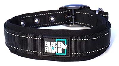 Black Rhino - The Comfort Collar Ultra Soft Neoprene Padded Dog Collar for All Breeds - Heavy Duty Adjustable Reflective Weatherproof (XLarge, Black)