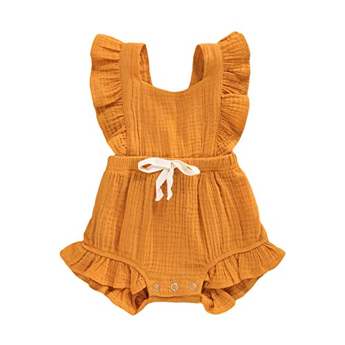 YOUNGER TREE Toddler Baby Girl Ruffled Sleeveless Romper Casual Summer Jumpsuit Cotton Linen Clothes (Yellow, 6-12 Months)