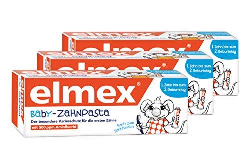 Elmex Baby Zahnpasta vom ersten Zahn bis 2 Jahre Zahnpflege Mund, 3er Pack (3 x 20 ml)
