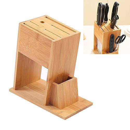 Blinfixe Bloc à couteaux en bambou avec fentes pour couteaux de cuisine respectueux de l'environnement, support de couteaux de cuisine professionnel