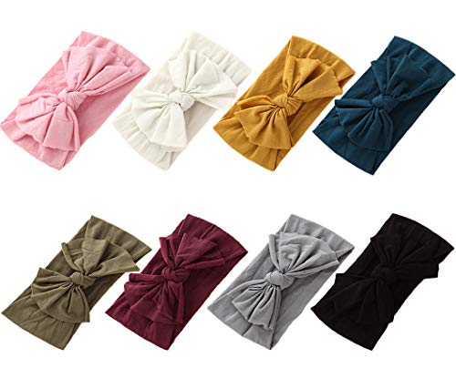 Baby Girl Nylon Headbands Newborn Infant Toddler Hairbands Knotted Children Soft Headwrap Hair Accessories (A2-8pack-mul)